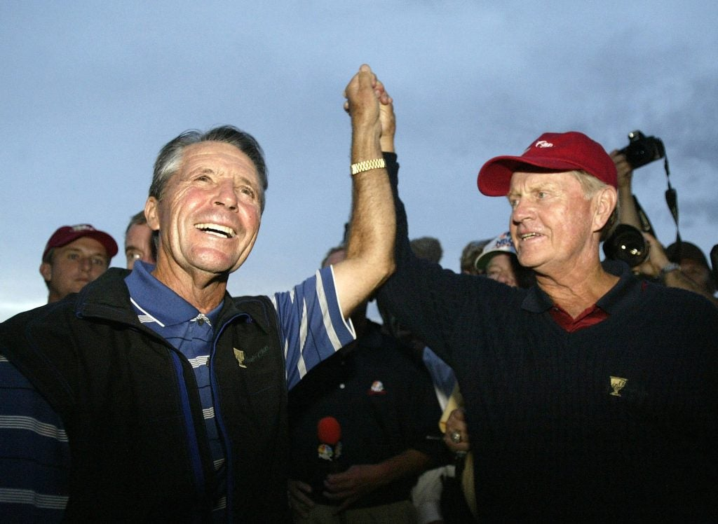 USA Captain Jack Nicklaus and International Team Captain Gary Player