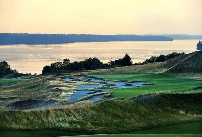 The 14th hole at dusk.
