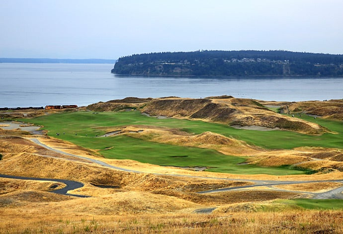 The 18th, 1st, 10th holes at Chambers Bay.