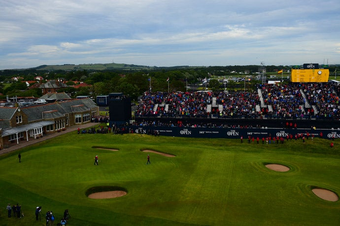 The scene at the 18th hole after the final putt dropped.