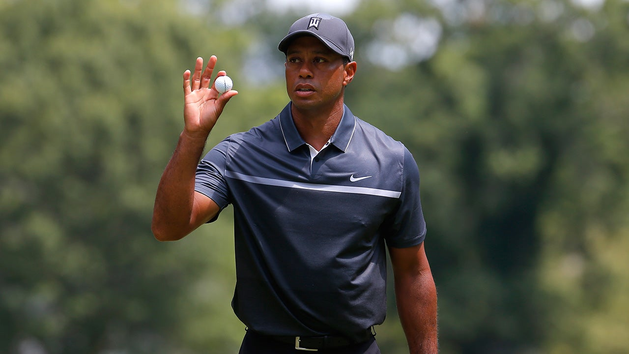 tiger woods tied for lead at wyndham