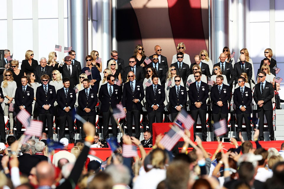 The U.S. team on stage during the Opening Ceremony.