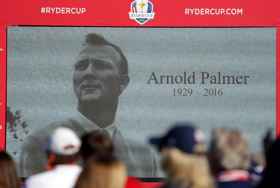 A tribute to Arnold Palmer on the screen during the Opening Ceremony.