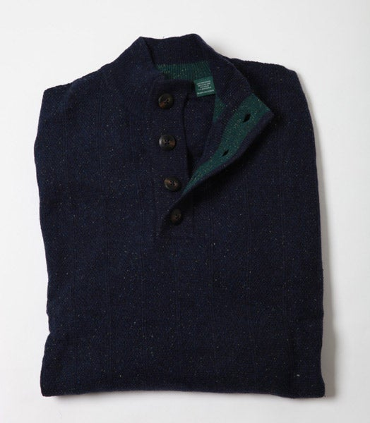 Bobby Jones Donegal Cable Button Mock Sweater