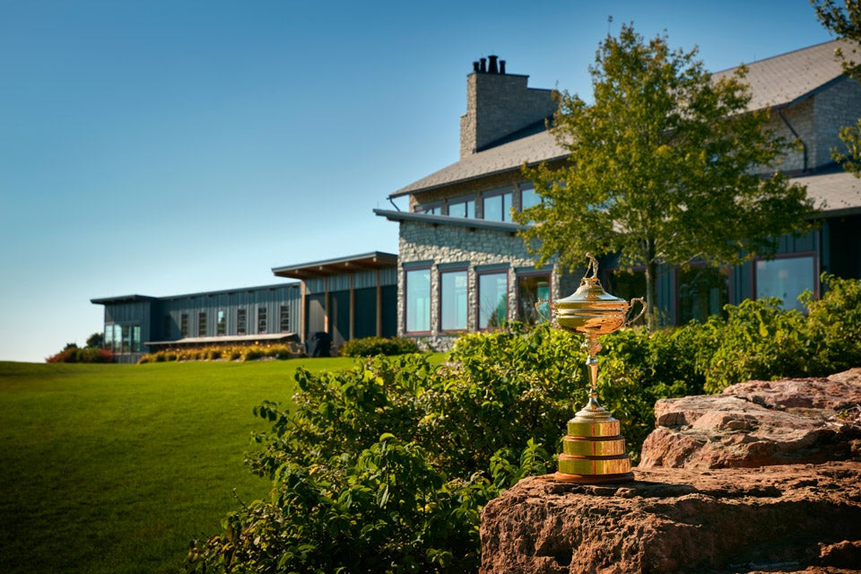 The Ryder Cup trophy in front of Hazeltine's clubhouse.