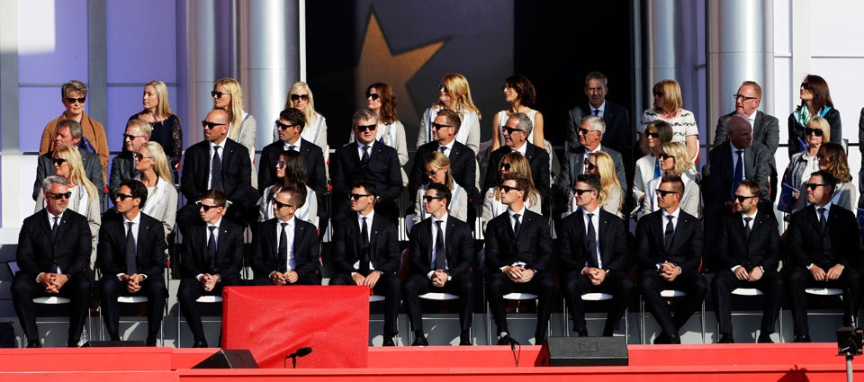 The European team during the ceremony.