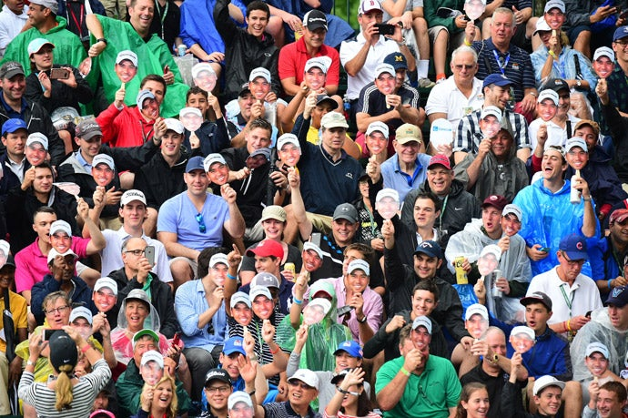 Fans in the crowd on Sunday at Baltusrol.