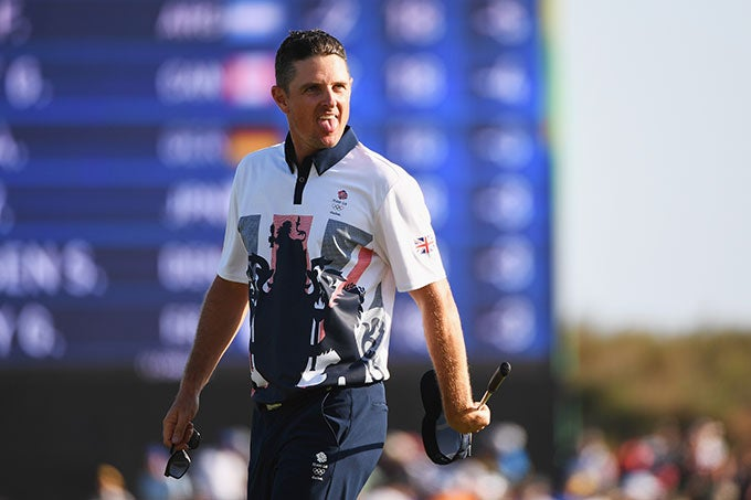 Justin Rose on the 18th green after his birdie.