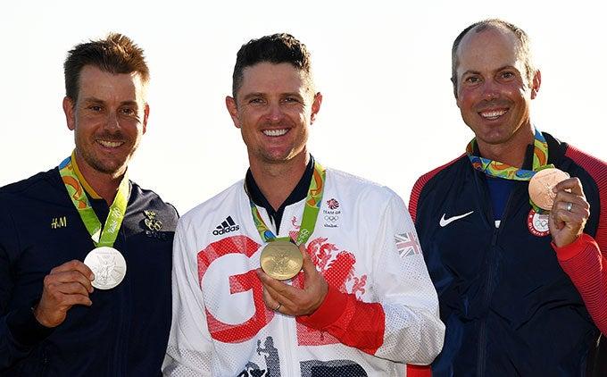 Henrik Stenson, Justin Rose and Matt Kuchar with their medals.