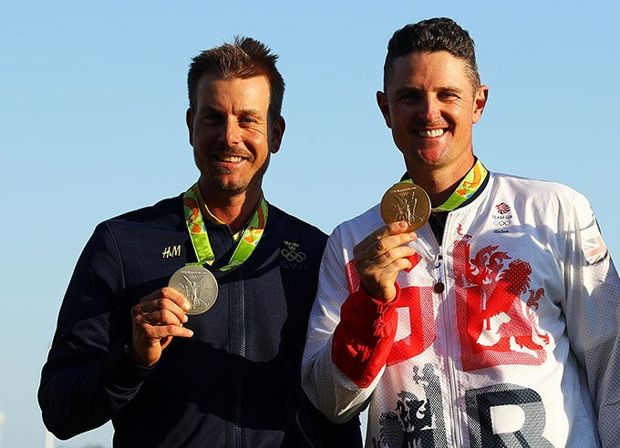 Henrik Stenson and Justin Rose after their Sunday match.