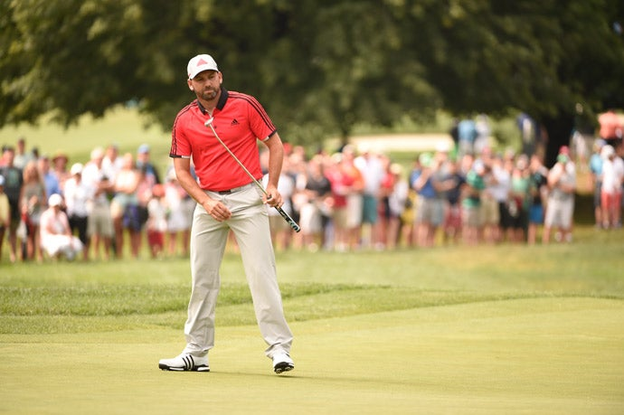 Sergio Garcia misses a putt on the 16th green.