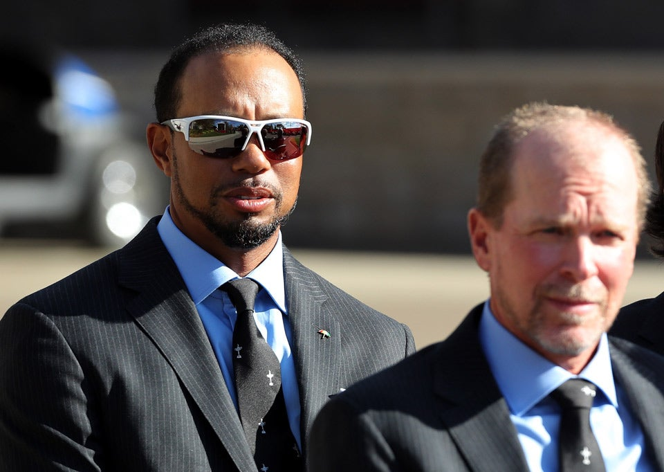 U.S. vice captains Tiger Woods and Steve Stricker line up for the Opening Ceremony.