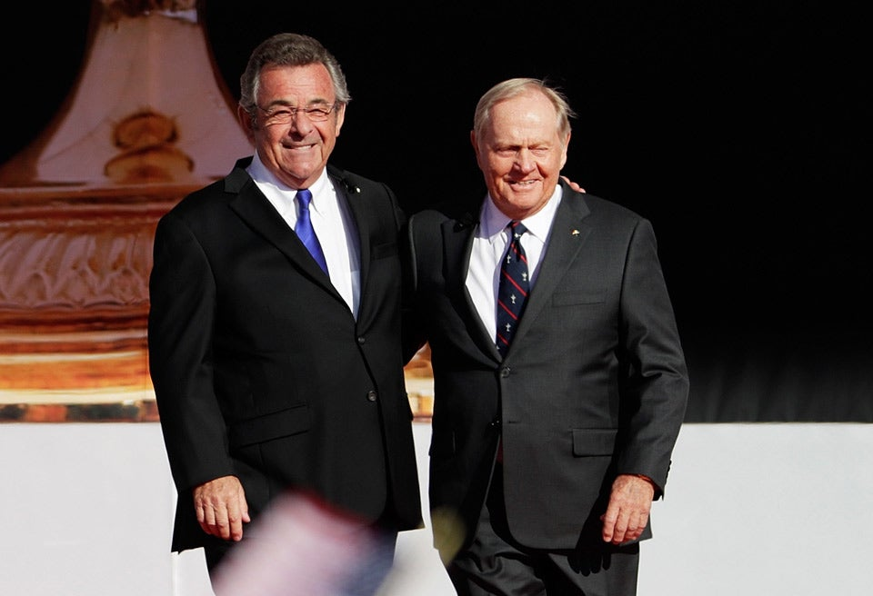 Former Ryder Cup captains Tony Jacklin and Jack Nicklaus.