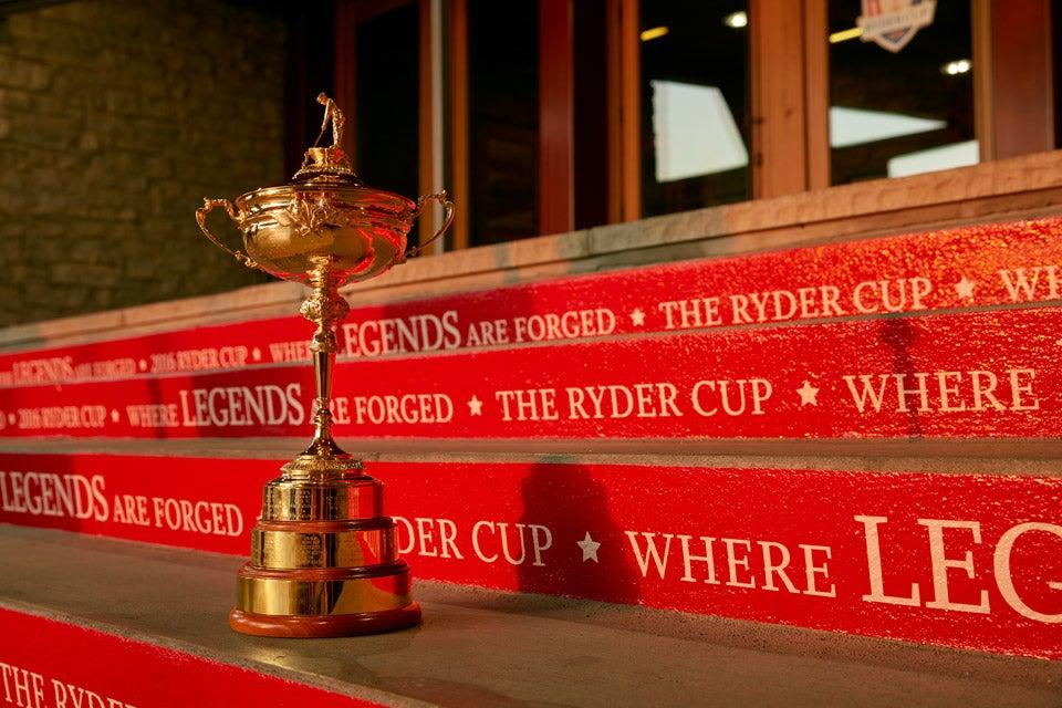 The Ryder Cup trophy at Hazeltine.