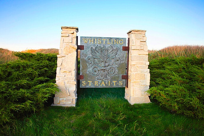 A sign at the entrance to Whistling Straits