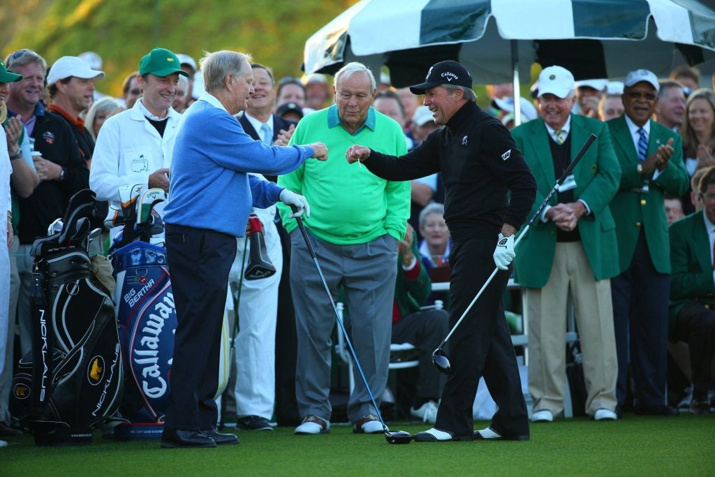 Jack Nicklaus, Gary Player and Arnold Palmer at 2014 Masters