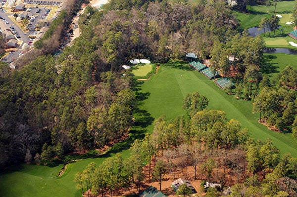 The dogleg-left par-5 13th at Augusta National is one of the all-time great risk-reward holes.