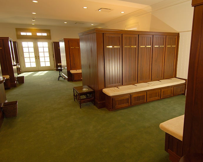 The locker room for non-champions may not have the prestige and cachet of the champions' facility, but it does not lack for comfort and style.