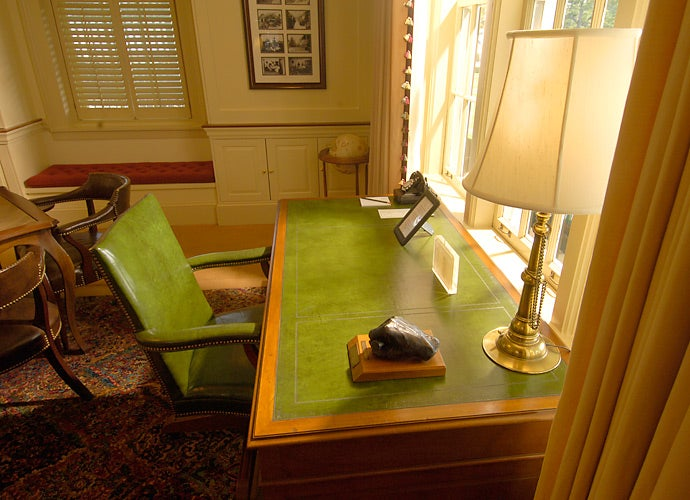 President Eisenhower's desk remains in place on the second floor.
