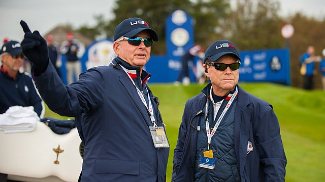 Bishop (left) with Tom Watson at the 2014 Ryder Cup.