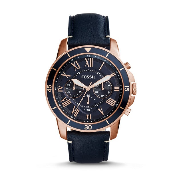 Fossil Grant Sport Chronograph Blue Leather Watch, $145