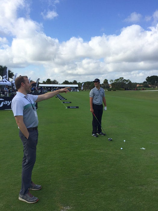 GOLF's Jeff Ritter chats with TaylorMade Tour pro Jon Rahm at the event.