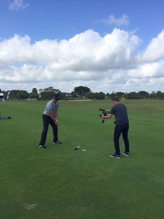 Jon Rahm participates in a GOLF video shoot.