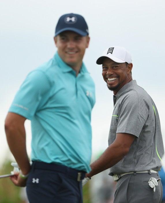 Tiger Woods and Jordan Spieth on Saturday.