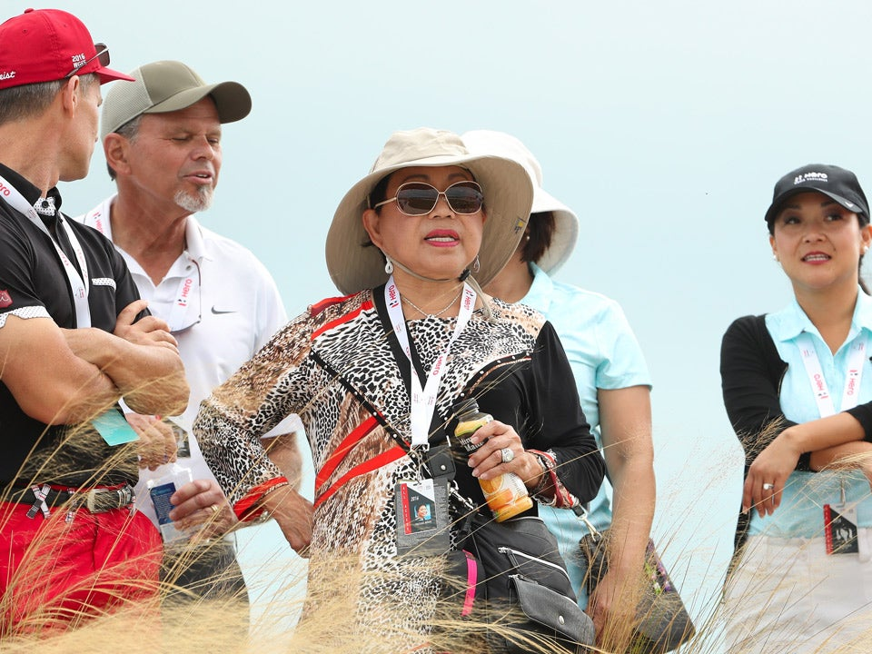Tiger's Woods's mother Kultida watches his third round on Saturday.