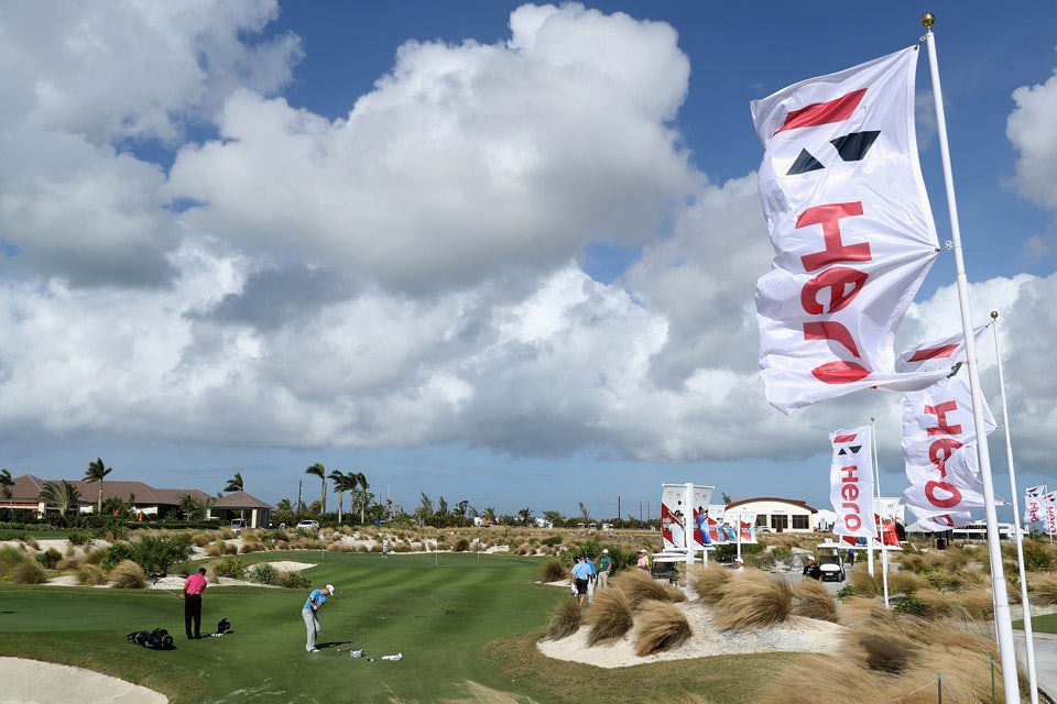 Tiger Woods practices at Albany in the Bahamas prior to the start of the Hero World Challenge.