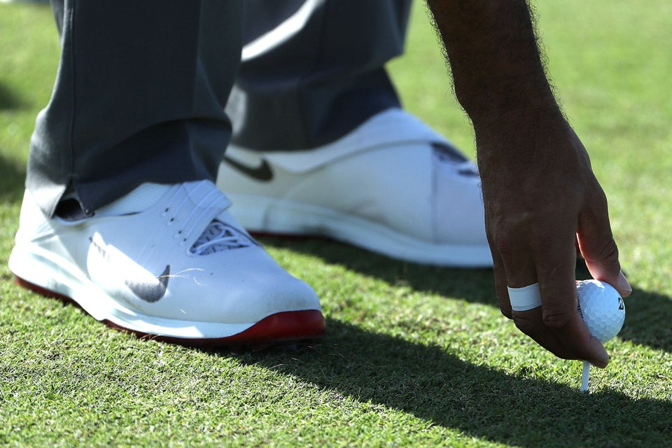 A look at Tiger's Nike golf shoes on Wednesday.