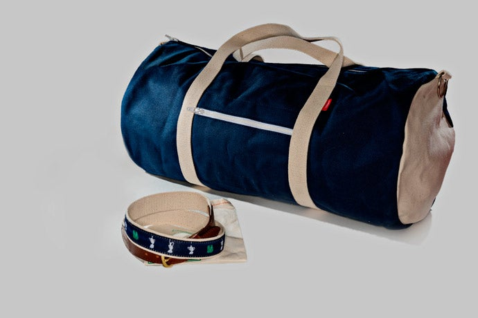 Knot Clothing and Belt Co. Four Majors Ribbon Belt/Tommy Duffel Bag, $58.50/$89