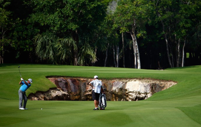 El Camaleon at Mayakoba, Playa del Carmen, Riviera Maya, Mexico; 1st hole, par 5, 509 yards