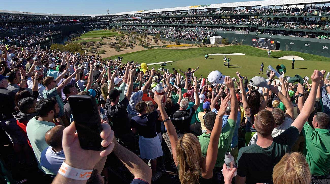 The par-3 16th hole at TPC Scottsdale is where the party happens on the Stadium Course.