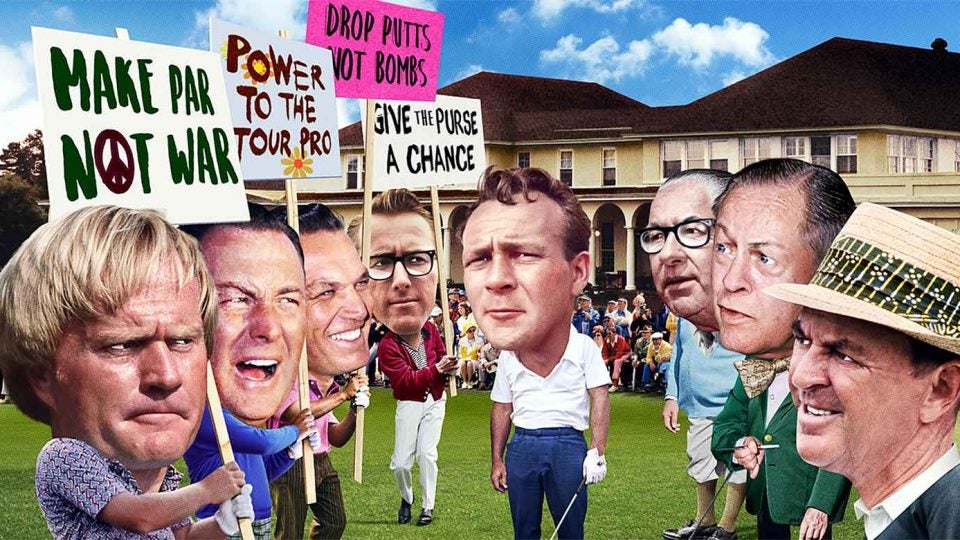 Talk about trapped! Arnold Palmer found himself wedged between (from left) steaming Tour pros Jack Nicklaus, Billy Casper, Bob Goalby and Kermit Zarley, and cranky PGA holdouts Walter Hagen, Bobby Jones and Sam Snead.