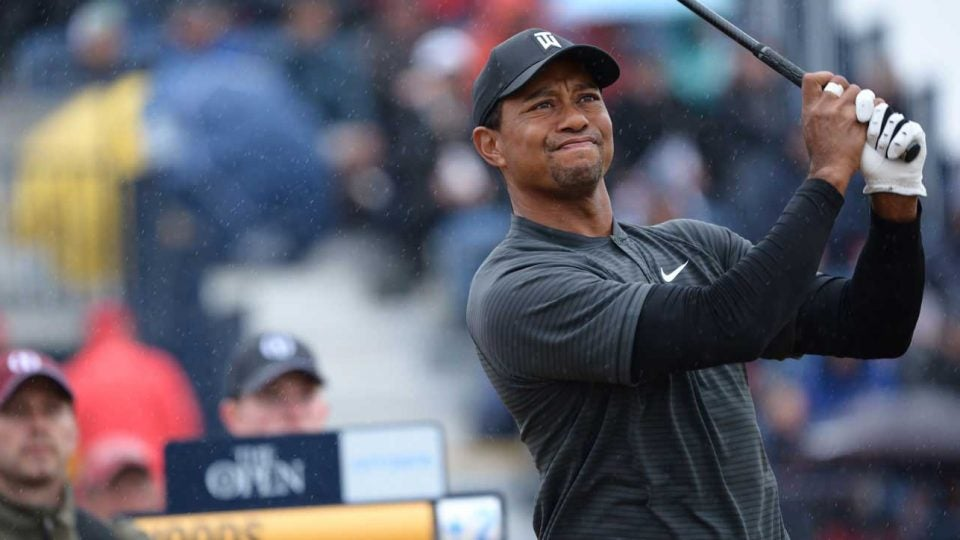 Tiger Woods plays a shot during the second round of the British Open.