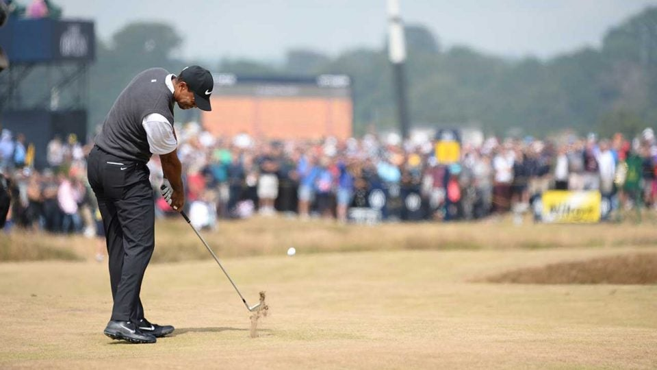 Tiger Woods hits a shot during the third round of the British Open.