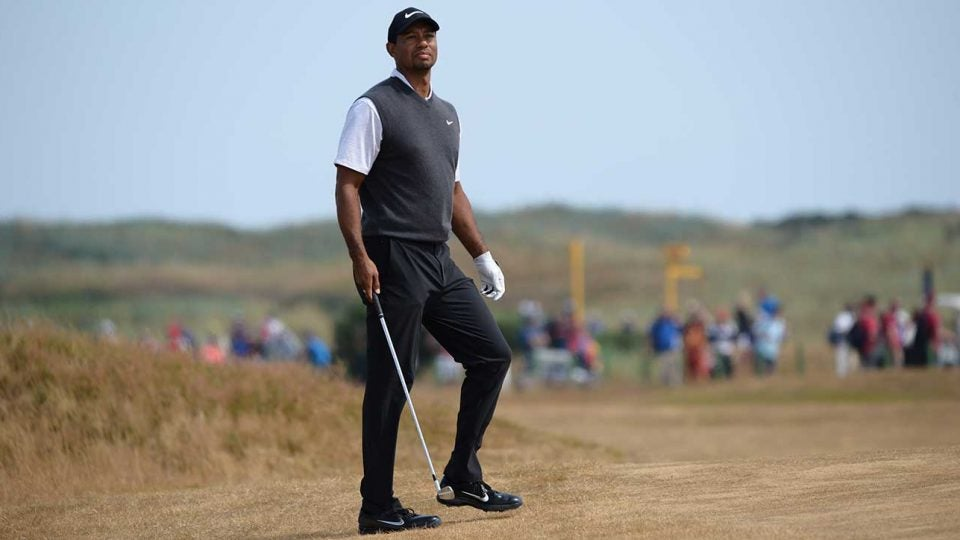 Tiger Woods is in contention at the British Open.