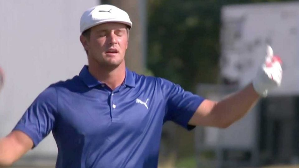 Bryson DeChambeau reacts after dumping a shot into the water on Sunday in Germany.