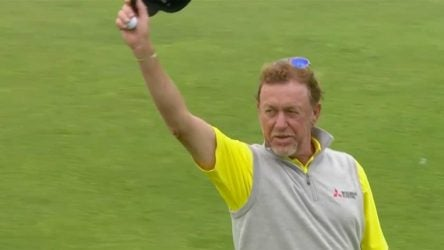 Miguel Angel Jimenez won the Senior Open Championship on Sunday.