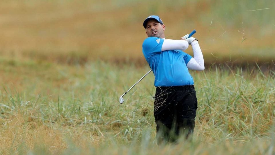 Sergio Garcia plays a shot during the second round of the British Open on Friday.