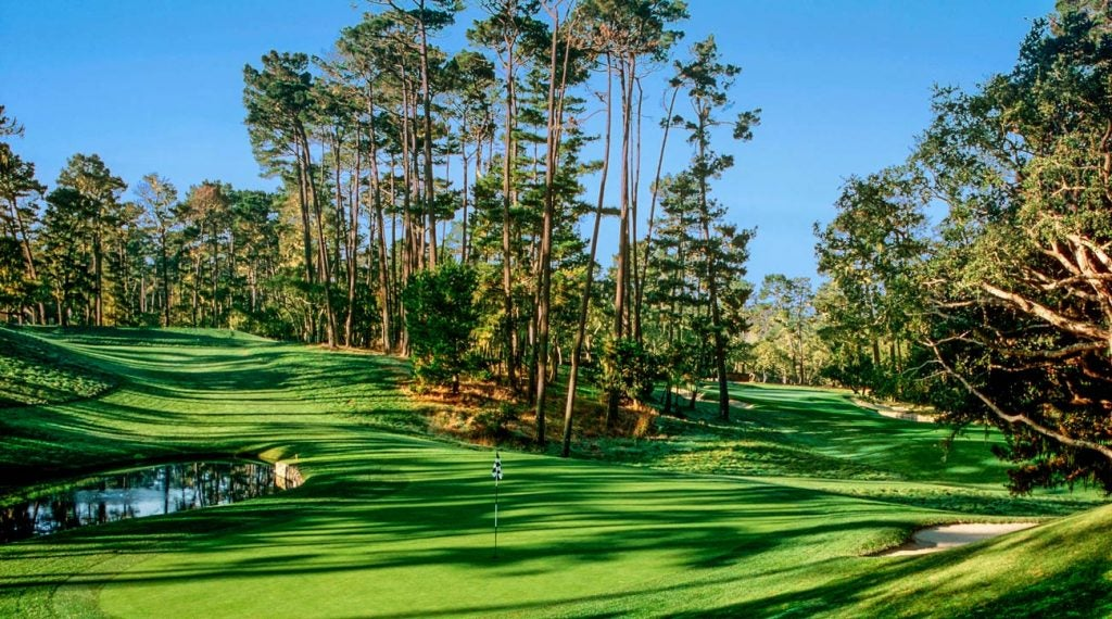 The twisting, downhill par-3 15th at Spyglass Hill can play anywhere from 98 to 130 yards.