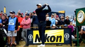 Tiger Woods tees off for a British Open practice round.