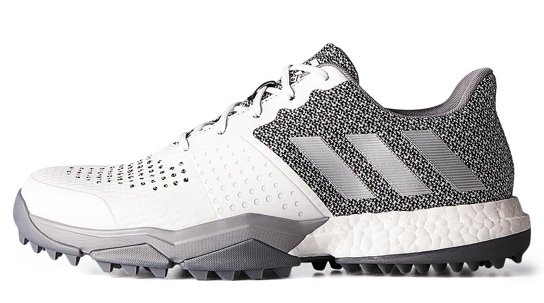 The Adidas Sport BOOST 3 spikeless golf shoes.