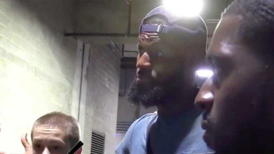 LeBron James tried to get a youth basketball team hyped for its game.