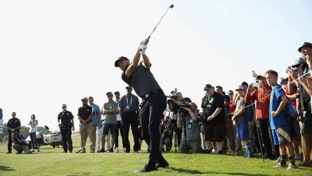 Steph Curry watches a shot during the opening round of the Web.com Tour's Ellie Mae Classic on Thursday at TPC Stonebrae.