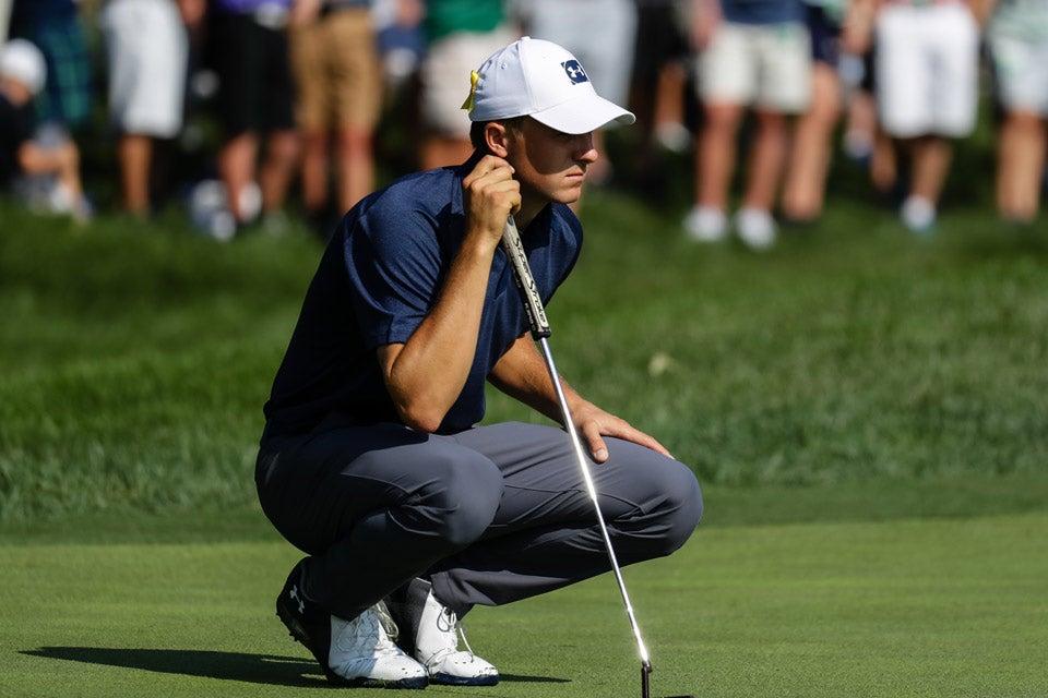 Jordan sizes up the break of his putt at the 2018 PGA Championship at Bellerive.