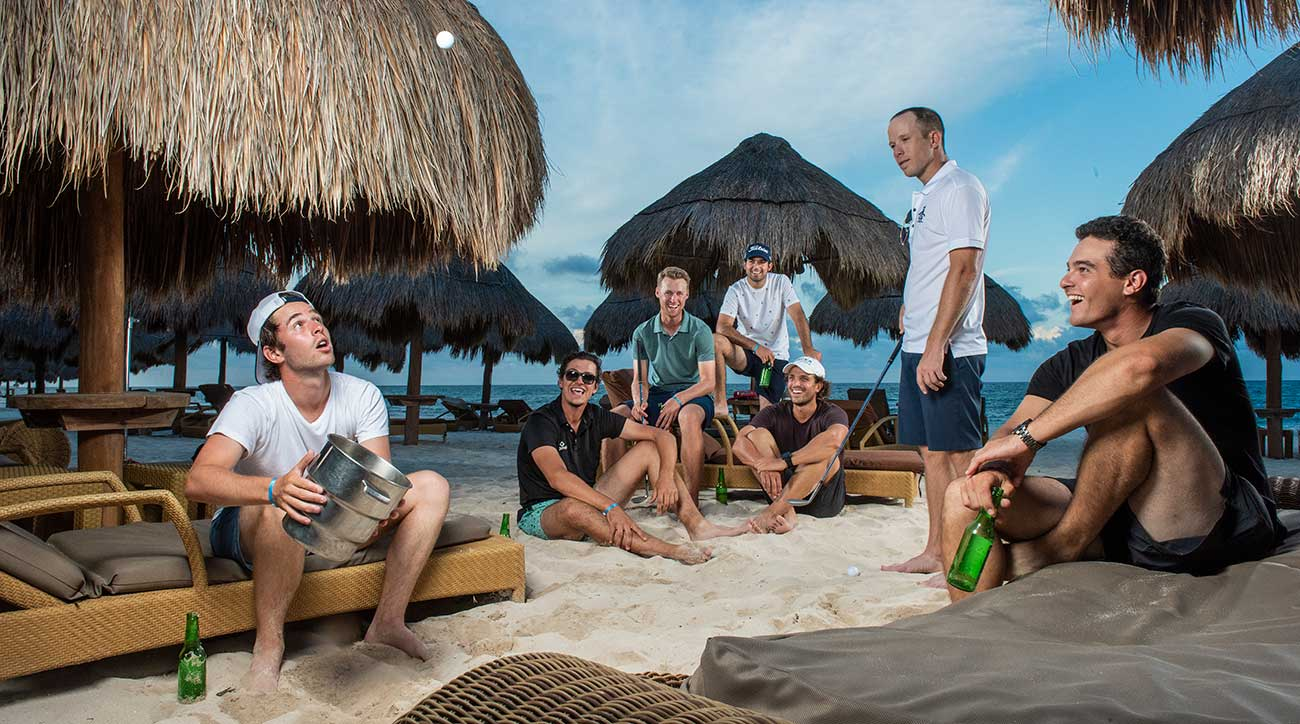 At the Iberostar Paraíso Del Mar, in Cancun, a killer sand game is key for Latinoamérica tour players (from left) Harrison Endycott, Rafael Becker, Tyson Alexander, Santiago Gomez, Santiago Gaviño, Michael Buttacavoli and Ignacio Marino.