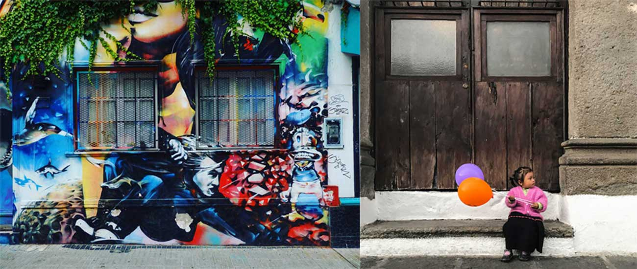 From left, street art in Buenos Aires; and sublime local color in Antigua.