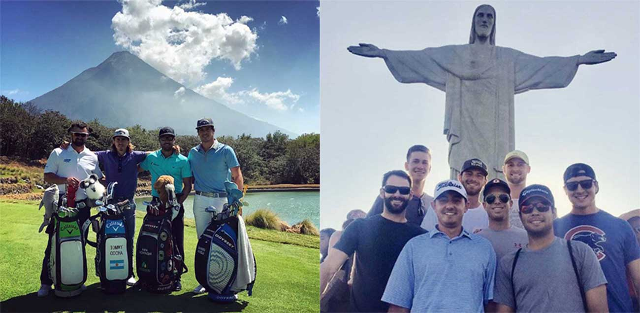 From left, Daniel Barbetti, Tommy Cocha, Rafa Enchenique and Leandro Marelli having their own volcanic moment at Antigua's Fuego Maya Golf Course. Right: The mandatory group-selfie with Christ the Redeemer in Rio.